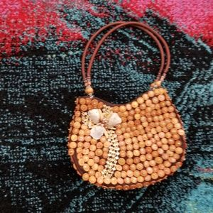 Wooden Button and Floral Purse